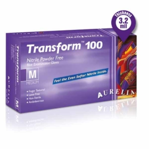Aurelia TRANSFORM 100 Nitrile Powder-Free Gloves - Ultra Stretch - Finger Tip Textured - Ice Blue
