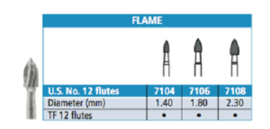 Carbide Burs - Trimming and Finishing - Flame - Johnson-Promident